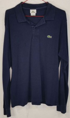 Lacoste Mens Navy Blue Pique 100% Cotton Long Sleeve Polo Shirt S Small Size 4 #Lacoste #PoloRugby