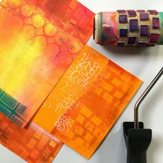 Tutorial: Beautiful Image Transfers on Gelli® Printed Backgrounds with @BirgitKoopsen!  The pictures below show the fun results of using the handmade texture rolls and the chocolate box: