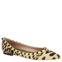 Valentino Garavani, animal skin with leopard print, yellow rim and black rockstuds, from autumn winter 2015. shop.wunderl.com