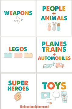 Free printable: toy box labels  {The Handmade Home}