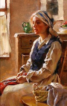 A Moments Reverie By Gregory Frank Harris 1953 Figure Painting, Painting & Drawing, Double Exposition, Knit Art, Cottage Art, Mystique, Portrait Art, American Artists, Impressionism