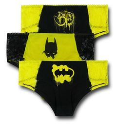 """What is better than one pair of panties inspired by DC Comics' Batgirl and Batman? How about <i>three?</i> Off the chain, I know, I know. The 95% cotton 5% spandex Batman Lace Women's Panty 3-Pack have one thing in common; they are all black and yellow but besides that each one is wholly unique. You'll have plenty of Bat-Options with the Batman Lace Women's Panty 3-Pack! <br><br><i><b>""""HIPSTER UNDERWEAR""""<br><br>*Mid-Coverage Silhouette <br>*Squared-Off Leg<br>*Bikini Rise<br>*Leg Line: ..."""