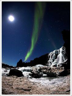 Öxarárfoss in Iceland – Aurora Borealis taken by Arnar Valdimarsson