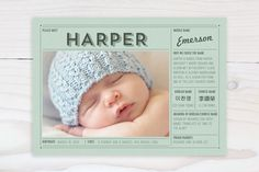 Vintage Name Grid Birth Announcements by Frooted D...   Minted - best website for birth announcements! Can also get coordinating thank you cards.