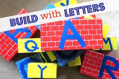 Easy DIY Letter Blocks with Painter's Tape - use gross motor skills to build something big and knock it down!