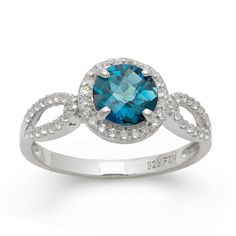 Sterling-Silver-7mm-London-Blue-Topaz-Gemstone-And-White-Sapphire-Accent-Ring