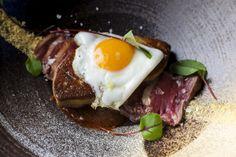 Wagyu Tataki - foie gras, aji panca, fried quail egg