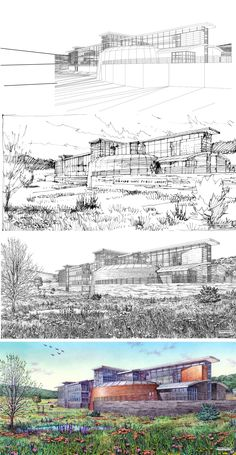 Holzheimer + Bolek. Roanoke, VA Library. Drawing Process. Wireframe, Composition Sketch, Inked Drawing, Color. Rendering by Bruce Bondy, Bondy Studio. 2007.