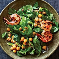 Crispy Chickpea Salad with Grilled Prawns | MyRecipes.com