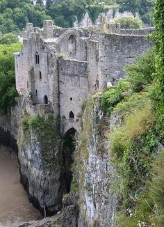 Chepstow Castle sits atop a cliff across the River Wye which separates England and Wales.