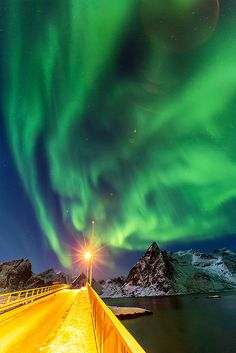 Northern Lights - Lofoten Island, Norway.I want to go here one day.