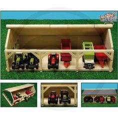 Kids Globe Wooden Barn for 6 Tractors 610491 - Mini Wooden Farm Wooden Toy Barn, Wooden Toy Trucks, Woodworking Software, Woodworking For Kids, Woodworking Shop, Barn Storage, Toy Storage, Handmade Wooden Toys, Wooden Diy
