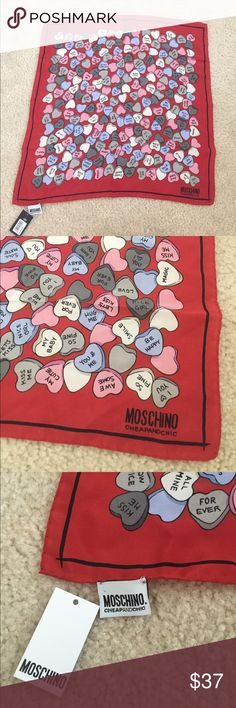 NWT Moschino Cheap and Chic Silk Square Scarf New with tag. 100% authentic moschino. Made out of silk. Can be worn as a scarf or tied around your purse which is very cute and fashionable. Moschino Accessories Scarves & Wraps