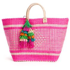Pink Ibiza Tote (1.855 ARS) ❤ liked on Polyvore featuring bags, handbags, tote bags, beach bags, tote purse, pink tote, beach bag, beach tote and beach bag tote