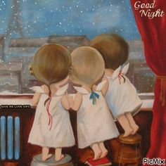 Good Night Prayer, Good Night Gif, Good Night Image, Cute Cartoon Pictures, Cute Cartoon Girl, Cute Love Pictures, Angel Images, Sisters Art, Animated Love Images