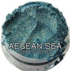 Aegean Sea Blue Gold Glitter Sparkly Glimmer Shimmer Mineral Eyeshadow Mica Pigment 5 Grams Lumikki Cosmetics