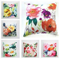 Pillows Pillow Covers Watercolor Floral Pillow Cover Throw pillows Decorative throw pillows Outdoor pillows Pillow cases Couch pillow USD) by HomeDecorYi Diy Pillow Covers, Diy Pillows, Couch Pillows, Decorative Throw Pillows, Floral Throw Pillows, Outdoor Throw Pillows, Floral Cushions, Custom Curtains, Fabric Painting