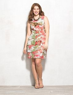 Plus Size Tiered Floral Dress