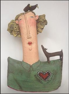 Sarah Saunders Sarah Saunders makes figurative objects out of Clay.She teaches Ceramics and also accept commissions about the art. Paper Mache Sculpture, Pottery Sculpture, Sculpture Art, Ceramics Projects, Clay Projects, Ceramic Clay, Ceramic Pottery, Pottery Videos, Ceramic Angels