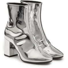 Balenciaga Mirror Metallic Leather Ankle Boots ($820) ❤ liked on Polyvore featuring shoes, boots, ankle booties, silver, block heel bootie, leather ankle bootie, thick booties, bootie boots and block heel booties