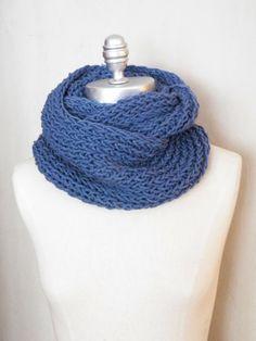 French Blue Knit Infinity Scarf Denim Blue by jamiesierraknits, $25.00
