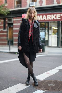 Take the grunge-inspired approach, and add a little plaid and sheer black tights to the mix.