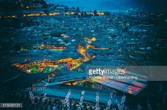 Stock Photo : Blue hour shot over roofs of Lijiang Old Town, UNESCO World Heritage Site, Lijiang, Yunnan, China, Asia