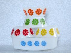 Federal Glass Daisy Cereal Bowls & Casserole   by SwirlingOrange11
