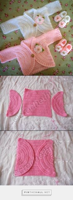 Crochet Patterns Sweaters Nice tutorial – created via Crochet Bebe, Baby Girl Crochet, Crochet Baby Clothes, Crochet For Kids, Knit Crochet, Crochet Baby Shrug, Ravelry Crochet, Crochet Slippers, Baby Knitting Patterns