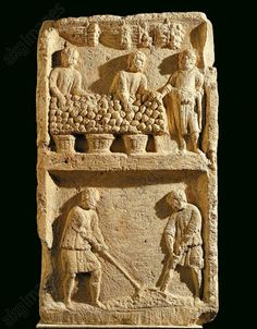 The Pillar of the Farmer, relief depicting a fruit market and two farmers tilling the soil Belgium, Luxembourg, Arlon, Musee Luxembourgeois