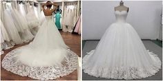 Romantic Cathedral Lace Train Wedding dress white/ivory  Ball Gown Bridal Gown