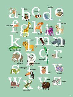 Kunstwerk: 'Dieren alfabet (groen)' van Annelies Castricum