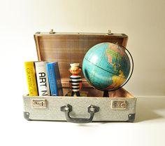 Vintage Grey Suitcase  / Midcentury Travel Luggage / Gray