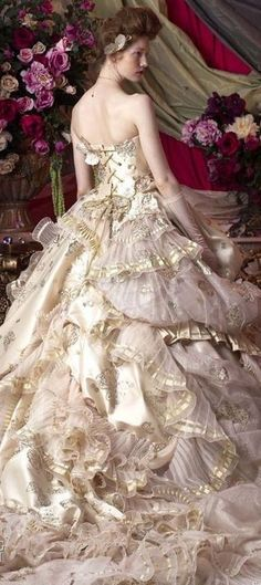 Stella de Libero jaglady gold and blush victorian steampunk wedding dress