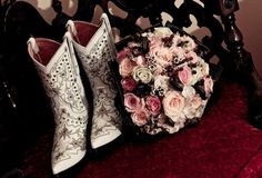 White Boots with Blue Rhinestones! Talk about the PERFECT something blue. See More Brides in Boots >> http://www.greatamericancountry.com/living/lifestyles/country-weddings-brides-in-boots-pictures?soc=pinterest