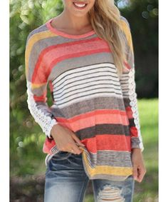 Product Details: Material Polyester Sleeve Length Full Collar Scoop Neck Style Fashion Pattern Type Striped Weight 0.37KG Package Contents 1 x T-Shirt Available in Size Small