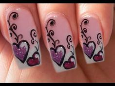 Valentine's Day Special 4/10 lila Gel-Glitzer Herzen Nail Art Step by Step
