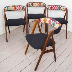 Image result for reupholster mid century modern dining chairs with mismatched fabric