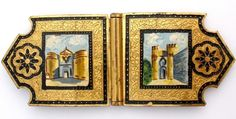 Victorian Hand Painted Toledo The Gate of Gilded Brass Sash Antique #Unbranded