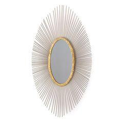 Finished in antique gold leaf Oval Mirror, Starburst Mirror, Mirror Glass, Wall Mirrors, Leaf Texture, Burke Decor, Floor Mirror, Wall Art Designs, Gold Leaf
