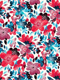 A bright and cheerful floral collage pattern… this is one of two colorways - Micklyn Le Feuvre @ Society6