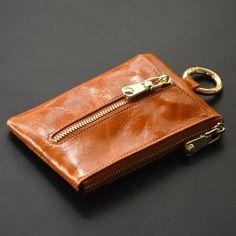 New Fashion Men Genuine Cow Leather Bag Coin Purse Business Car Key Wallets Fashion Women Housekeeper Key Holders