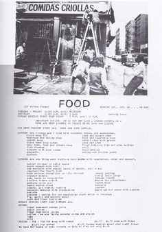Menu from Gordon Matta-Clark's Soho restaurant FOOD.