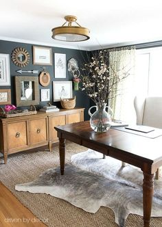 Spring is on it's way! Come on in and tour my Connecticut home to see the spring touches that I've added to lighten and brighten my home for the season! Décor Boho, Boho Chic, Office Ideas For Home, Home Office Colors, Home Office Table, Home Office Lighting, Dining Room Office, Office Rug, Office Inspo