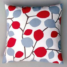 Nordic leaves red 16 inch handmade cushion pillow by CoupleHome, $13.50