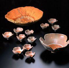 Kyo Tsuji, 'Flower-shaped Bowls,' 1975, stoneware with white camellia glaze