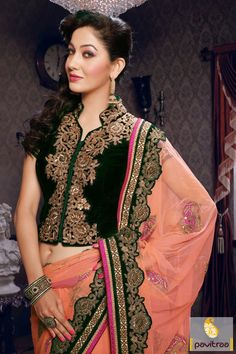 Pavitraa #Lovely Orange with #Green #Embroidery #Sarees Rs 6633