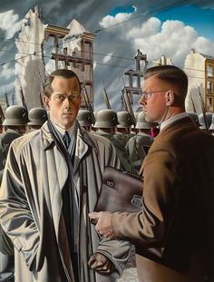 https://flic.kr/p/XtzZgb | Jan Hendrik Verstegen - Tyranny of the Steel Helmets [1947] | This painting recalls the Nazi invasion and bombing of Rotterdam of May 1940. The double portrait shows the painter and, on the right, his close friend Joost Planten. With their clear and precise style, Jan Verstegen's works are representative of the realist painting style that had its heyday in the Netherlands in the 1930s and 1940s.  [Museum Boijmans Van Beuningen, Rotterdam - Oil on canvas, 128 x 97…
