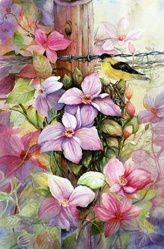 Watercolor flower bird