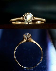 1880-90s Victorian ~0.45ct Old Mine Cut Diamond Ring, 14K, $1250 (Beautiful harmony of design)